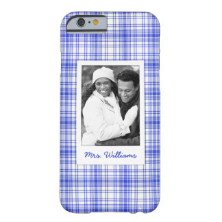 Custom Photo & Name Blue White Plaid 2 Barely There iPhone 6 Case