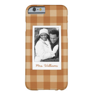 Custom Photo & Name brown plaid checkered cloth Barely There iPhone 6 Case