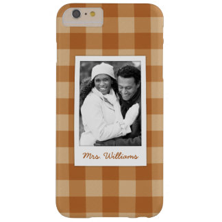 Custom Photo & Name brown plaid checkered cloth Barely There iPhone 6 Plus Case