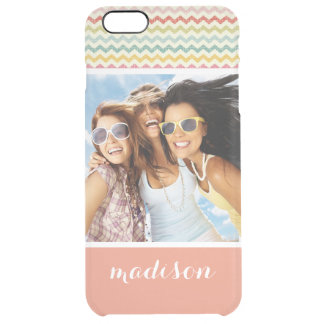 Custom Photo & Name Chevron Pattern 4 Clear iPhone 6 Plus Case