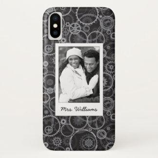 Custom Photo & Name Cogwheels pattern Case-Mate iPhone Case