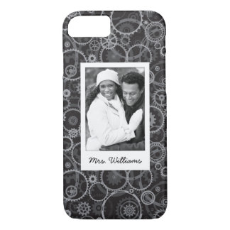 Custom Photo & Name Cogwheels pattern iPhone 8/7 Case