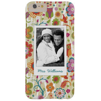 Custom Photo & Name Color Floral and Owl Barely There iPhone 6 Plus Case