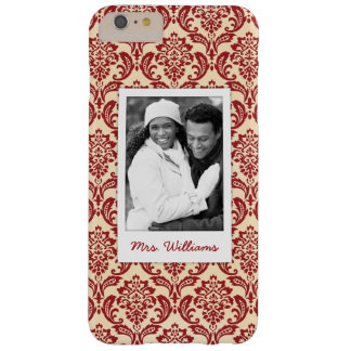 Custom Photo & Name Damask pattern wallpaper Barely There iPhone 6 Plus Case
