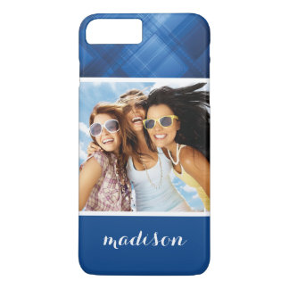 Custom Photo & Name Dark blue hi-tech background iPhone 8 Plus/7 Plus Case