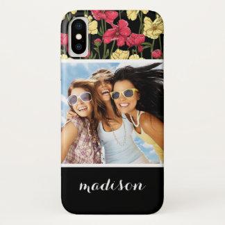 Custom Photo & Name Elegant floral pattern 2 Case-Mate iPhone Case