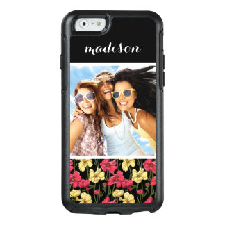 Custom Photo & Name Elegant floral pattern 2 OtterBox iPhone 6/6s Case