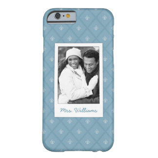 Custom Photo & Name Fleur-de-lis pattern Barely There iPhone 6 Case