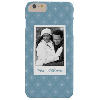 Custom Photo & Name Fleur-de-lis pattern Barely There iPhone 6 Plus Case