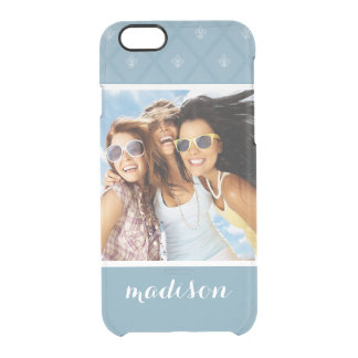 Custom Photo & Name Fleur-de-lis pattern Clear iPhone 6/6S Case