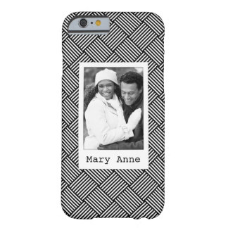 Custom Photo & Name Geometric checked texture Barely There iPhone 6 Case