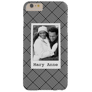 Custom Photo & Name Geometric checked texture Barely There iPhone 6 Plus Case