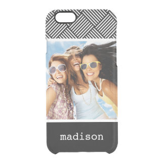 Custom Photo & Name Geometric checked texture Clear iPhone 6/6S Case