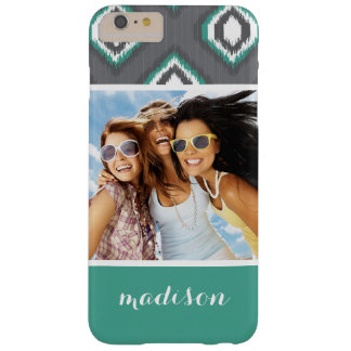 Custom Photo & Name Geometric Retro Ikat Pattern Barely There iPhone 6 Plus Case
