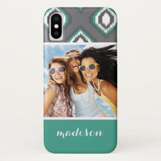 Custom Photo & Name Geometric Retro Ikat Pattern Case-Mate iPhone Case