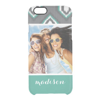 Custom Photo & Name Geometric Retro Ikat Pattern Clear iPhone 6/6S Case