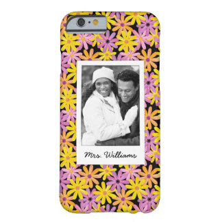 Custom Photo & Name Gerbera flowers pattern Barely There iPhone 6 Case