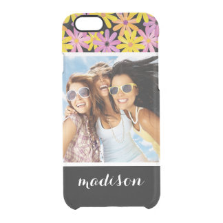 Custom Photo & Name Gerbera flowers pattern Clear iPhone 6/6S Case