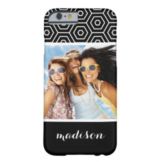 Custom Photo & Name Hexagonal geometric pattern Barely There iPhone 6 Case