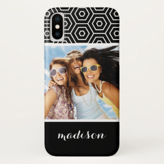 Custom Photo & Name Hexagonal geometric pattern Case-Mate iPhone Case