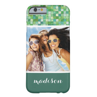 Custom Photo & Name irregular green pattern Barely There iPhone 6 Case