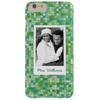 Custom Photo & Name irregular green pattern Barely There iPhone 6 Plus Case
