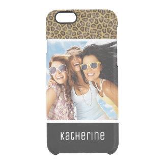 Custom Photo & Name Leopard Fur Clear iPhone 6/6S Case