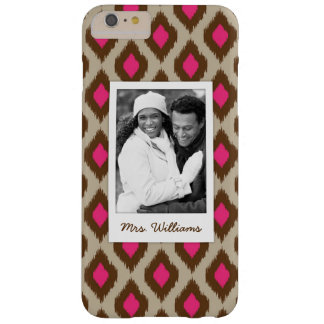 Custom Photo & Name Modern ikat pattern Barely There iPhone 6 Plus Case