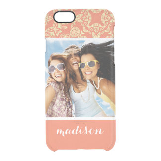 Custom Photo & Name on Vintage Background Clear iPhone 6/6S Case