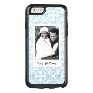 Custom Photo & Name Pale Blue Damask OtterBox iPhone 6/6s Case