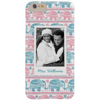 Custom Photo & Name Pink & Teal Elephant Pattern Barely There iPhone 6 Plus Case