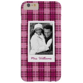 Custom Photo & Name Pixel Plaid_Magenta-Black Barely There iPhone 6 Plus Case