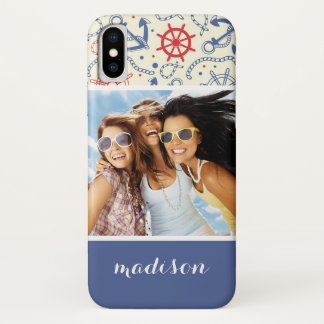 Custom Photo & Name Red and Navy with Anchor Case-Mate iPhone Case