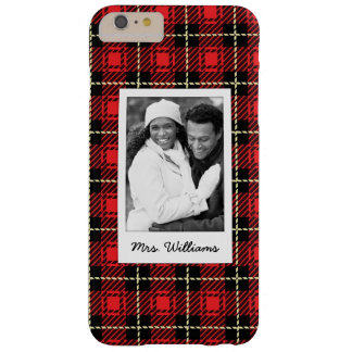 Custom Photo & Name Red Plaid Background Barely There iPhone 6 Plus Case