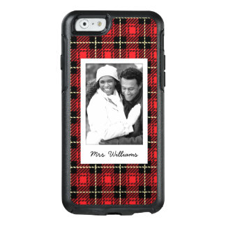Custom Photo & Name Red Plaid Background OtterBox iPhone 6/6s Case