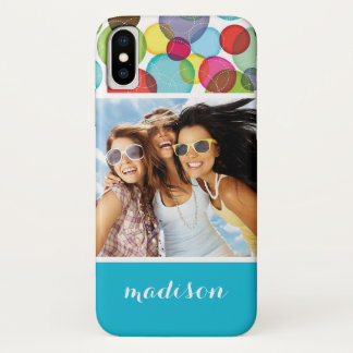 Custom Photo & Name Round bubbles kids pattern 2 Case-Mate iPhone Case