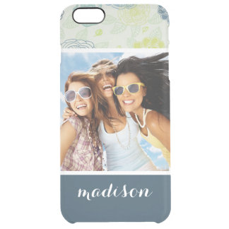 Custom Photo & Name Stylish Floral Pattern Clear iPhone 6 Plus Case