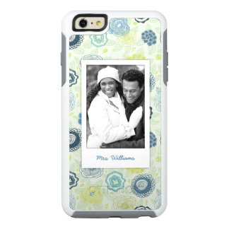 Custom Photo & Name Stylish Floral Pattern OtterBox iPhone 6/6s Plus Case