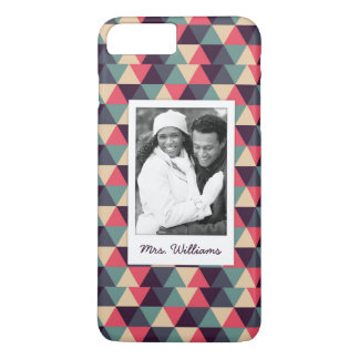 Custom Photo & Name Teal And Pink Triangle Pattern iPhone 7 Plus Case