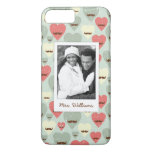 Custom Photo & Name Valentine heart and moustache iPhone 7 Plus Case