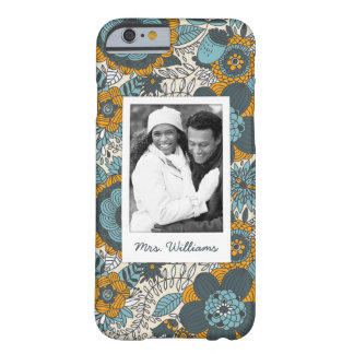 Custom Photo & Name Vintage floral pattern Barely There iPhone 6 Case