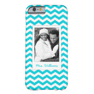 Custom Photo & Name White and Aqua Zig Zag Pattern Barely There iPhone 6 Case