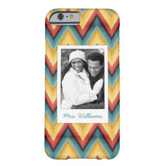 Custom Photo & Name Zig Zag Striped Background 2 Barely There iPhone 6 Case