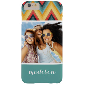 Custom Photo & Name Zig Zag Striped Background 2 Barely There iPhone 6 Plus Case