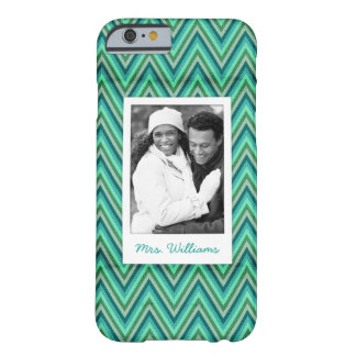 Custom Photo & Name Zig Zag Striped Background Barely There iPhone 6 Case