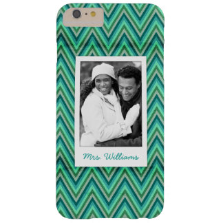 Custom Photo & Name Zig Zag Striped Background Barely There iPhone 6 Plus Case