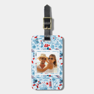 Custom Photo Nautical Red White And Blue Pattern Bag Tag