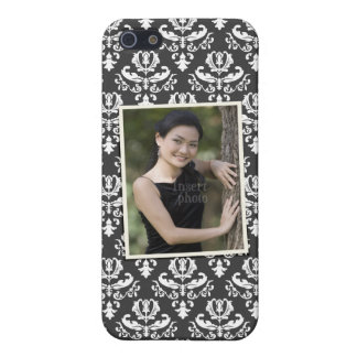 Custom photo on elegant black and white damask iPhone 5 covers
