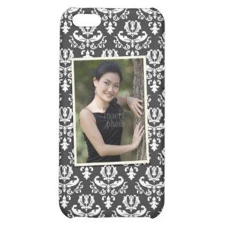 Custom photo on elegant black and white damask case for iPhone 5C