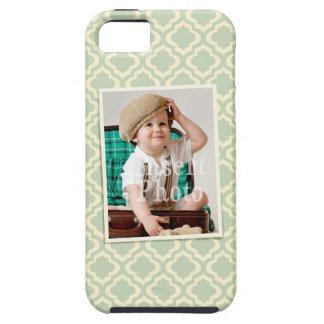Custom photo on seafoam quatrefoil background case for the iPhone 5